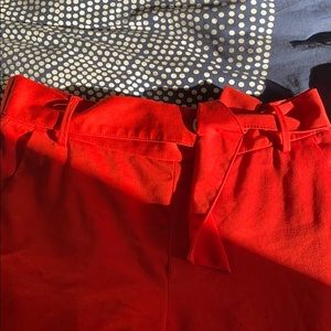 Cropped wide leg red pant